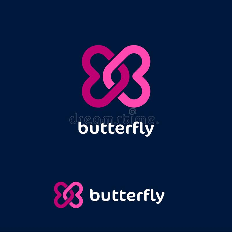 Butterfly logo. Love emblem. Dating website logo. Two pink twisted hearts on a dark background. royalty free illustration