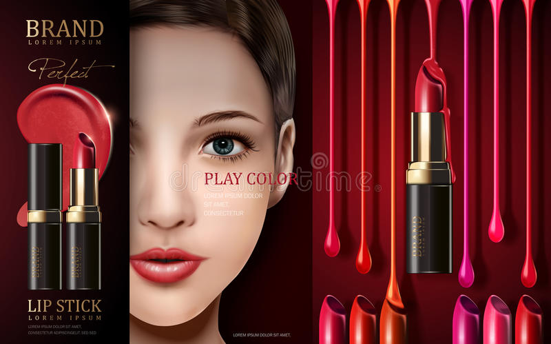 Cosmetic lipstick ad vector illustration