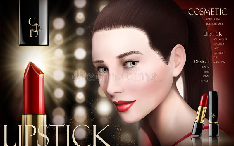Cosmetic lipstick ad royalty free illustration