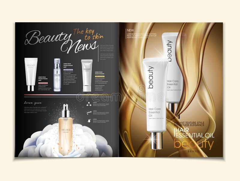 Cosmetic magazine ads. Hair oil and skincare products with oily texture in 3d illustration royalty free illustration