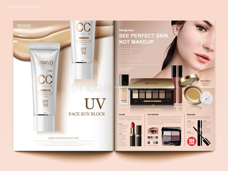 Cosmetic magazine template vector illustration