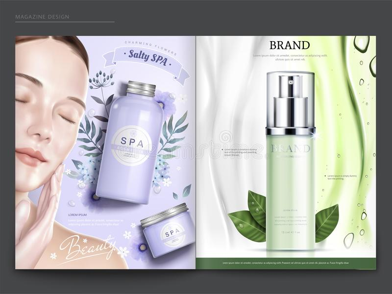 Cosmetic magazine template. Elegant model with spa and skincare products, in 3d illustration vector illustration
