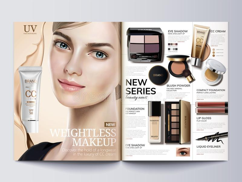 Cosmetic magazine template royalty free illustration