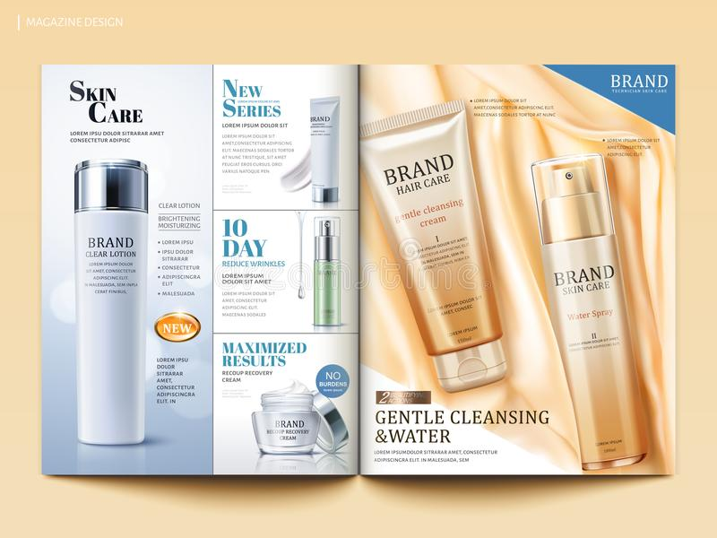 Cosmetic magazine template. Skincare and hair care product on silky satin in 3d illustration royalty free illustration