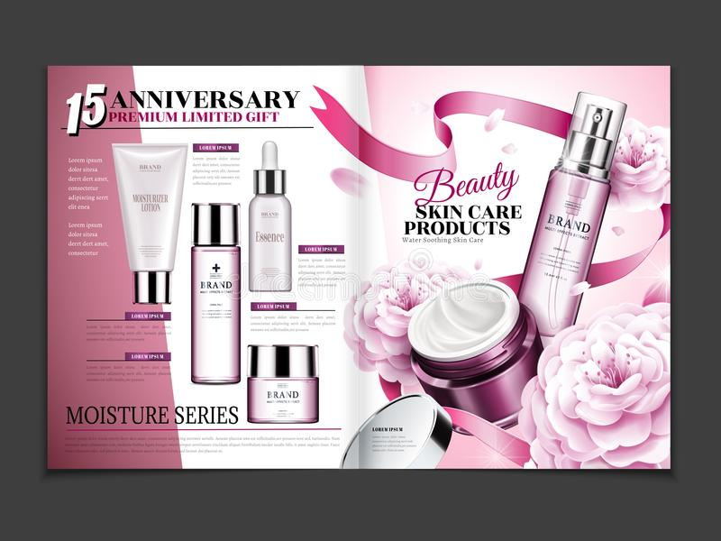 Cosmetic magazine template stock illustration