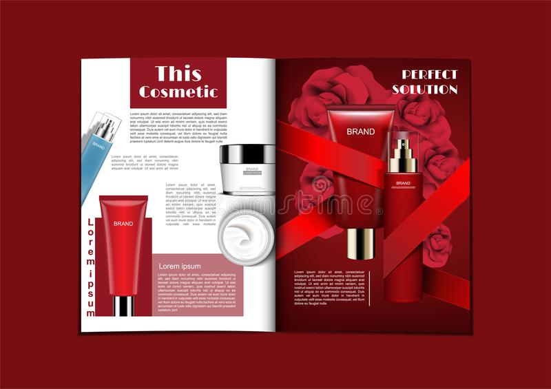 Cosmetic magazine in white and red theme with red ribbon and roses royalty free illustration