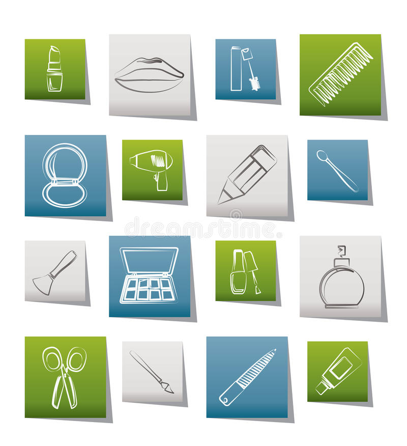 Download Cosmetic, Make Up And Hairdressing Icons Stock Vector - Image: 20857491