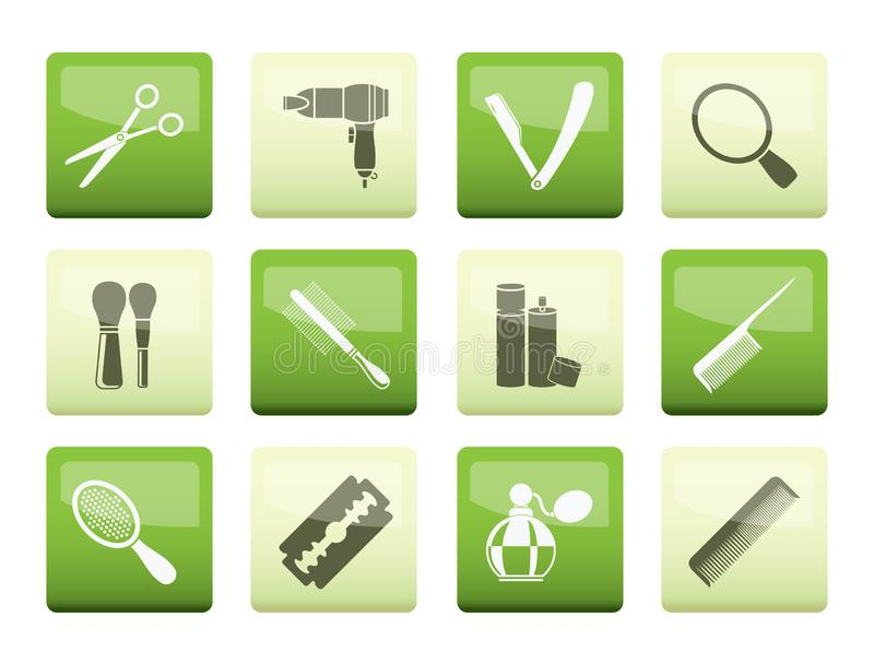 Cosmetic, make up and hairdressing icons over color background royalty free illustration