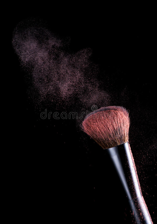 Download Cosmetic Makeup Brushes And Pink Powde Dust Stock Photo