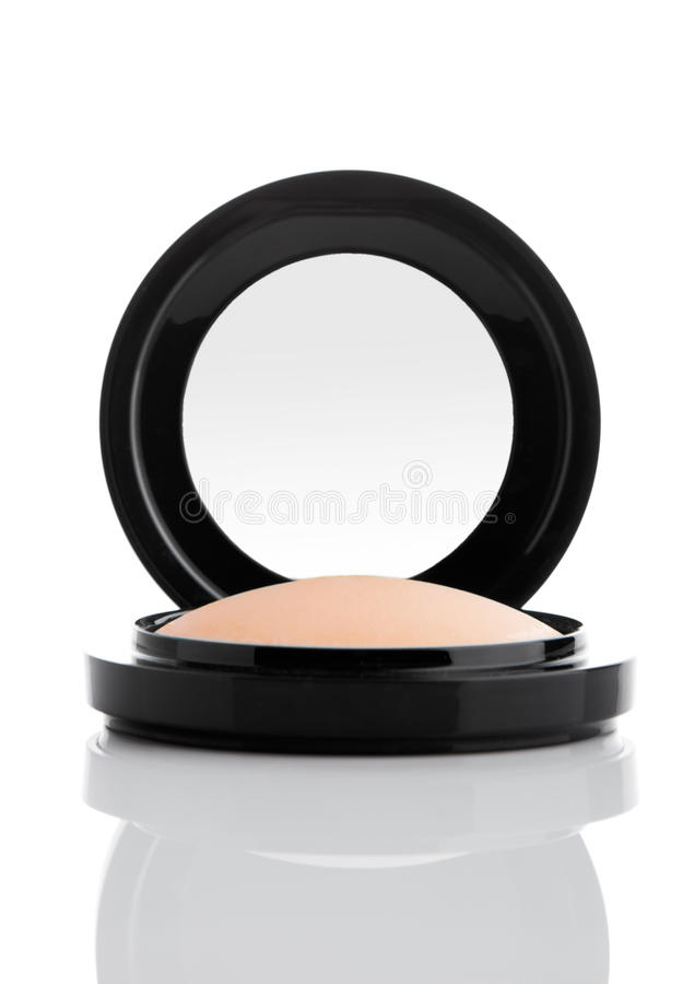 Cosmetic Makeup Powder in Black Round Plastic Case stock photos