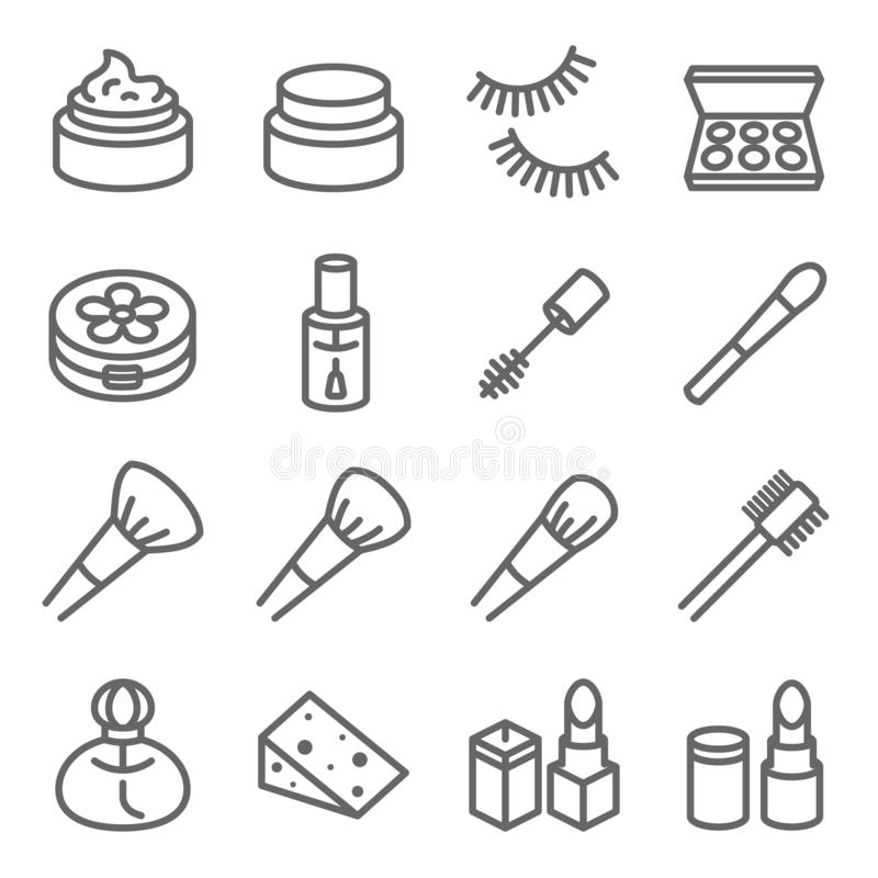 Cosmetic Makeup Vector Line Icon Set. Contains such Icons as Nail Polish, Lipstick Mascara, Eyelash and more. Expanded Stroke stock illustration