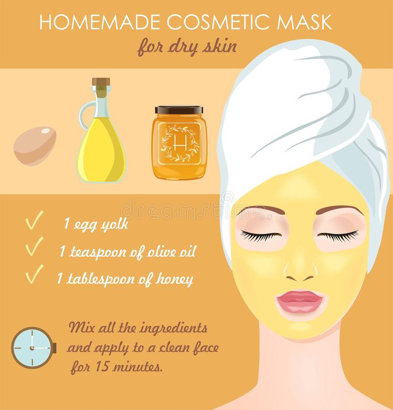 Cosmetic mask for dry skin. Homemade cosmetic mask for dry face skin. Egg yolk, olive oil and honey make your skin glowing. Vector illustration stock illustration