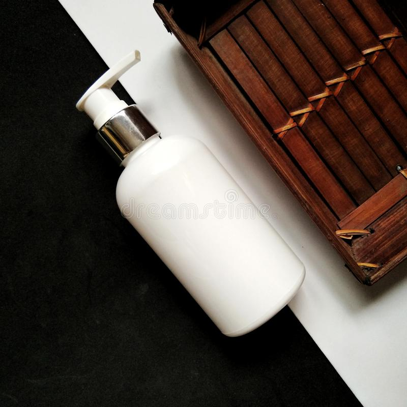 Cosmetic mock up bottle, Mockup concept on cart, skincare and spa packaging stock image