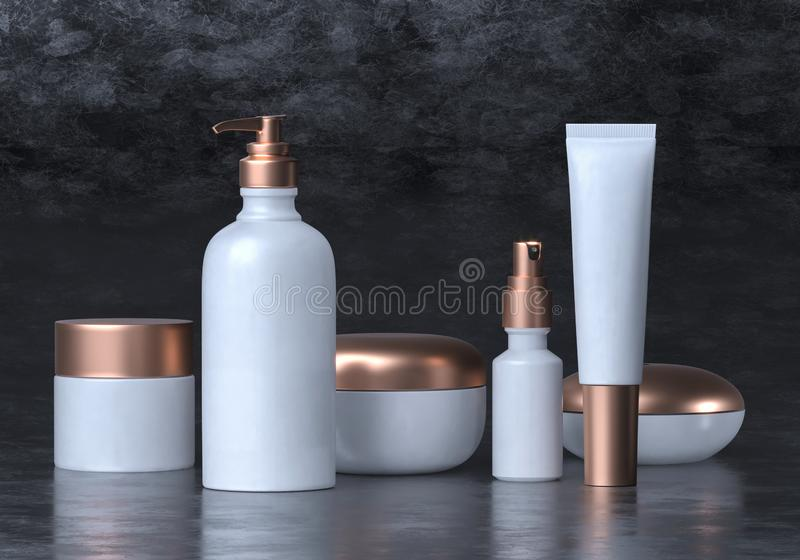Cosmetic mock up set. Cosmetic packaging bottles jar and tube. Make up blank face cream tube, spray. Set of white gold realistic vector illustration