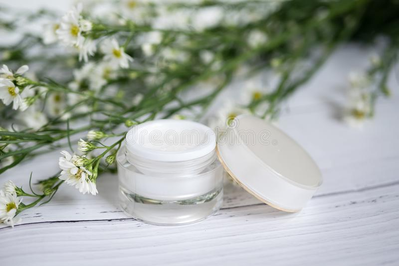 Cosmetic nature skincare concept. organic natural beauty product. alternative medicine made from herbal. white cream serum mock up. Cosmetic nature skincare royalty free stock images