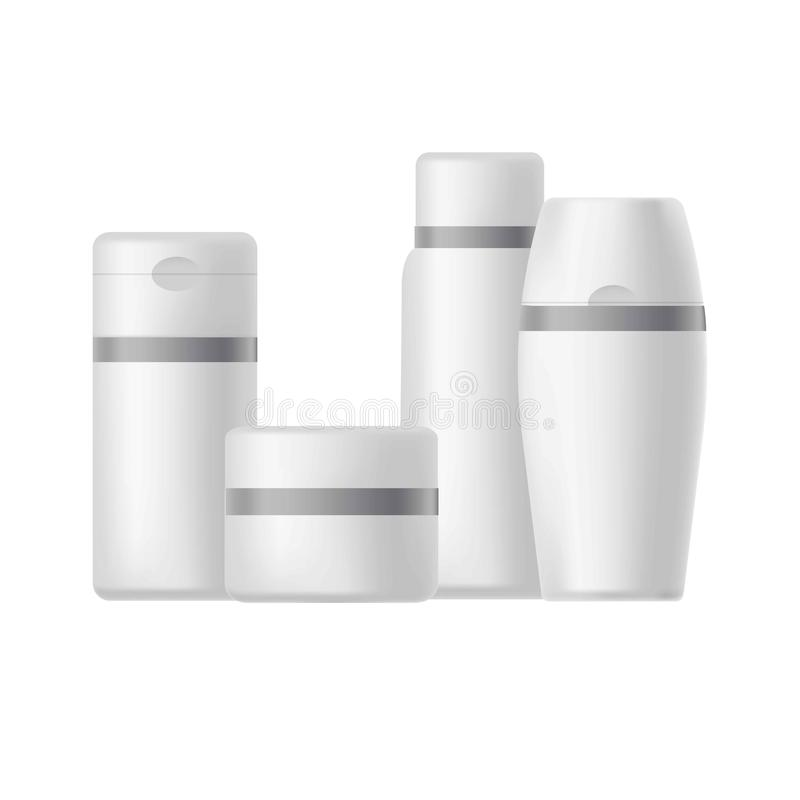 Cosmetic pacakges tubes, jars and bottles templates or mockups royalty free illustration