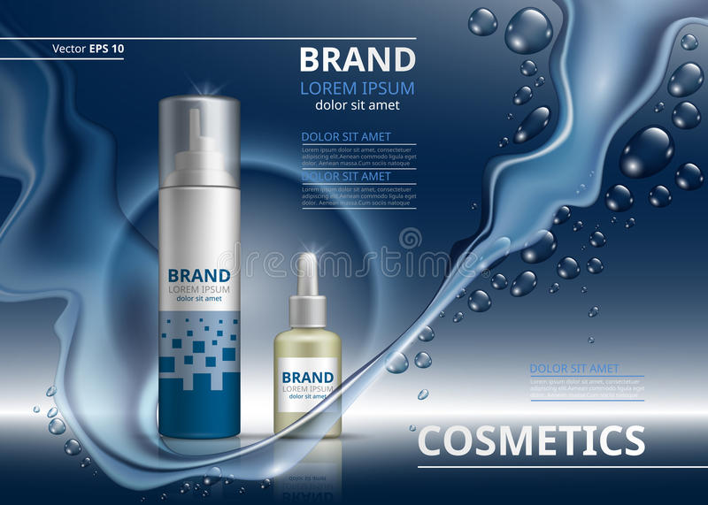 Cosmetic package ads template. Shampoo or gel and oil bottles. Mockup 3D Realistic illustration. Sparkling water drops. Backgrounds vector illustration