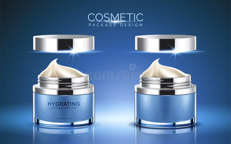Cosmetic package design. Blue color cream jar with cream texture in 3d illustration stock illustration
