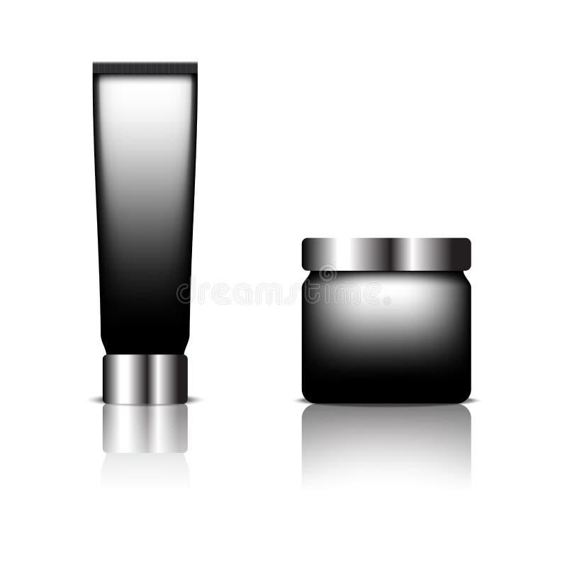 Cosmetic packaging, black color designed. Illustration vector royalty free illustration