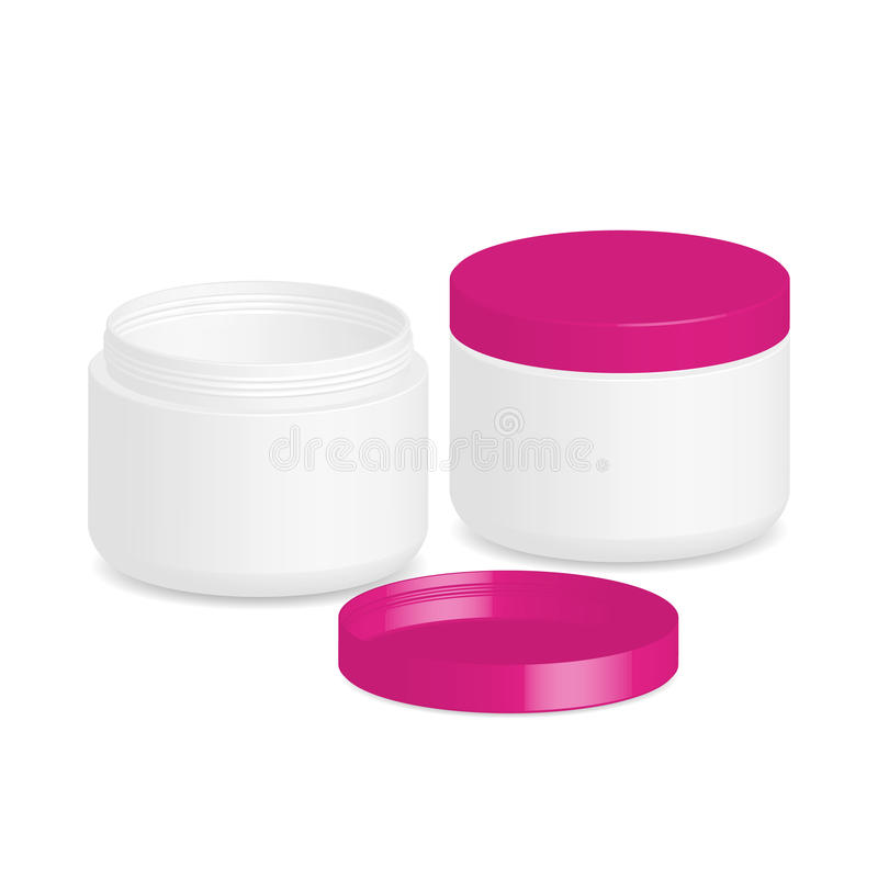 Cosmetic packaging, cream, powder or gel jar with cap, stock illustration
