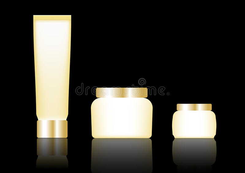 Cosmetic packaging, gold color designed. Illustration vector royalty free illustration