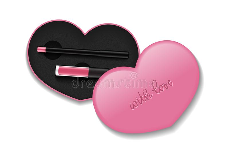 cosmetic packaging with liquid lipstick and pencil vector isolated