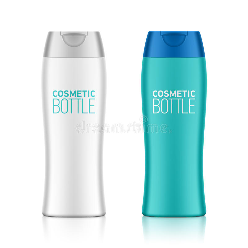 Cosmetic packaging, plastic shampoo or shower gel bottle royalty free illustration