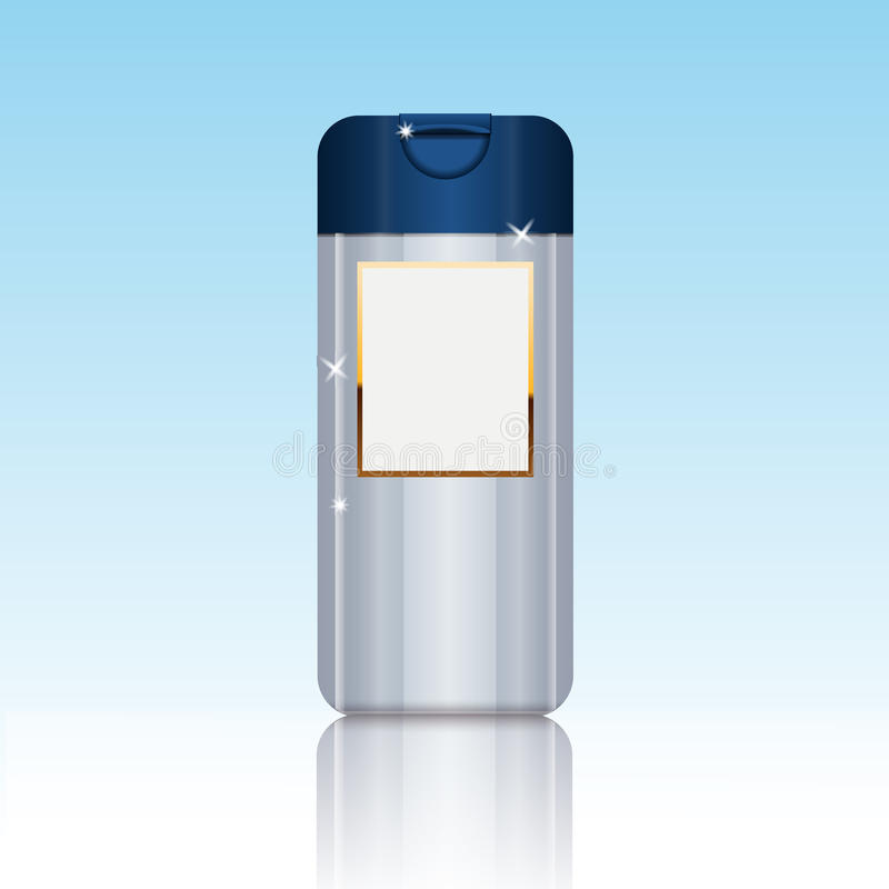 Cosmetic packaging plastic shampoo or shower gel bottle template stock illustration