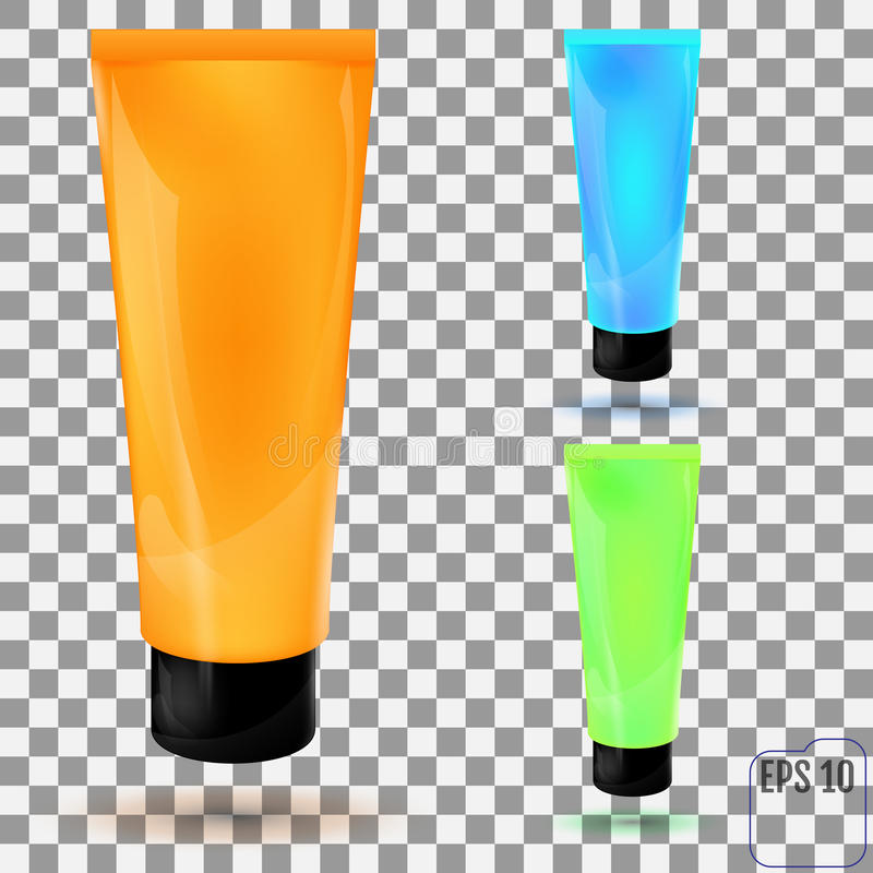 Cosmetic packaging, plastic tube on transparent background. Vector. vector illustration
