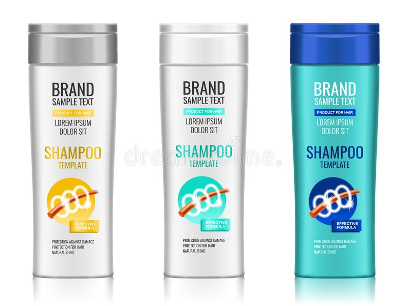 Cosmetic packaging, realistic plastic shampoo or shower gel bottle template with different design of packaging, 3d. Illustration. Vector royalty free illustration