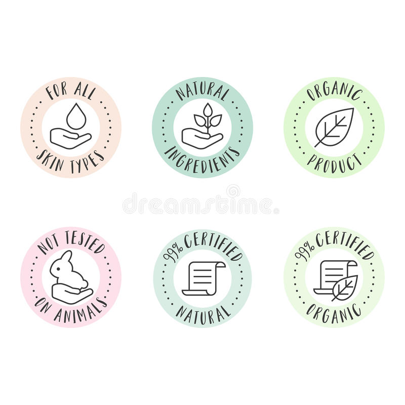 Cosmetic and pharmaceutical badges. In outline style for organic and natural products vector illustration