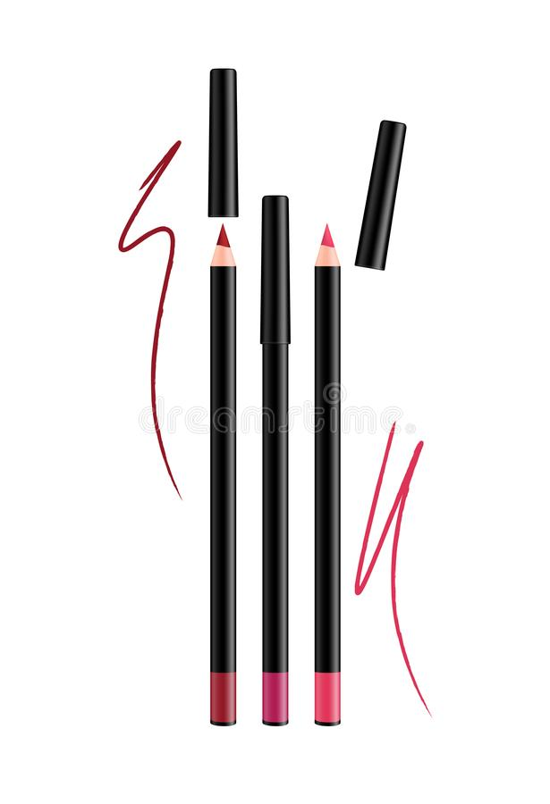Cosmetic pink Make-up Eye liner Set Pencils with cap. Vector Iso. Lated on White Background. Collection of lipliner pens for contour in glamour luxury vogue stock illustration