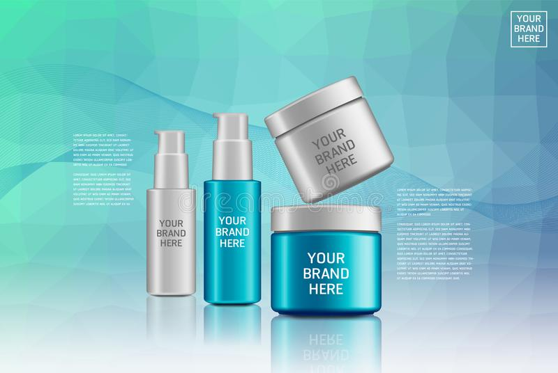Cosmetic Plastic Cosmetic Product Pack. Liquid container for gel, lotion, shampoo, foam, bath Vector illustrations stock illustration