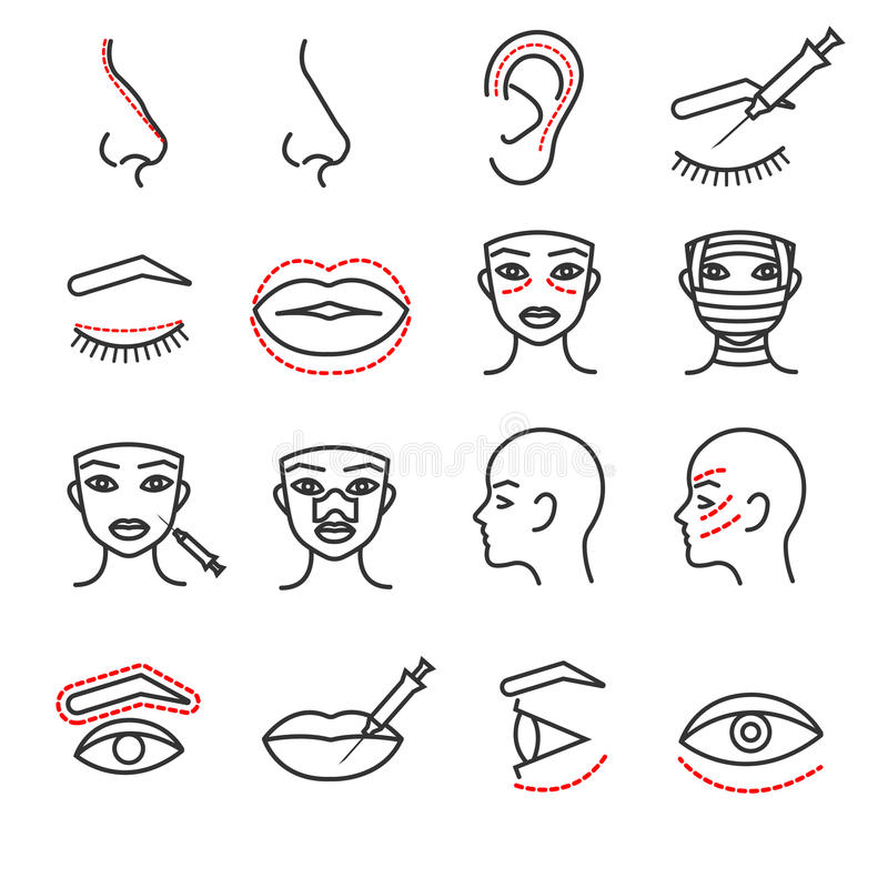 Cosmetic plastic face surgery vector thin line icons set stock illustration