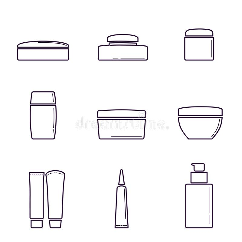Cosmetic plastic and glass jars for cream, gel, and lotion. A set of cosmetic products stock illustration