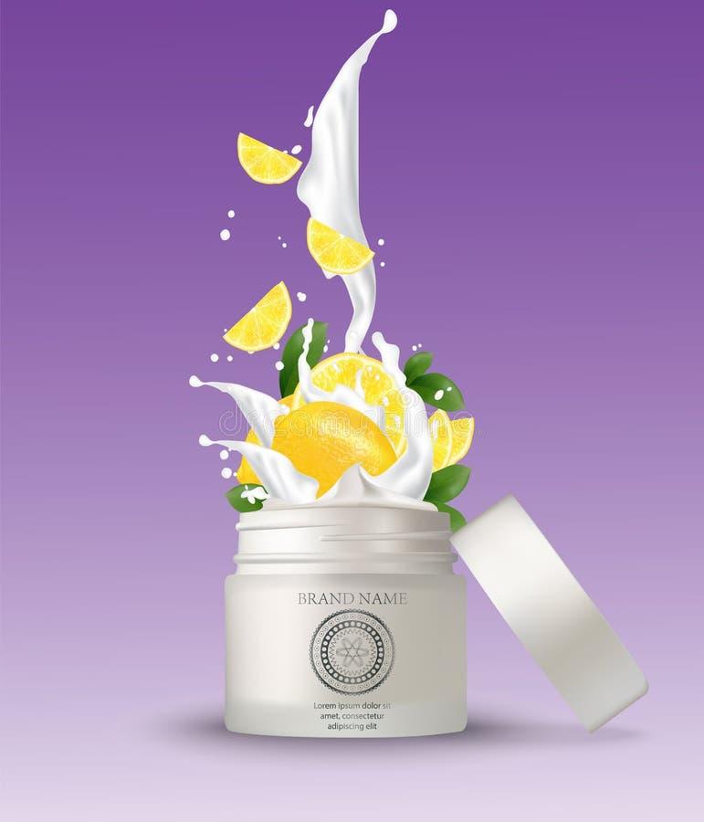 Cosmetic plastic jar with lemon cream splashing. white vector illustration