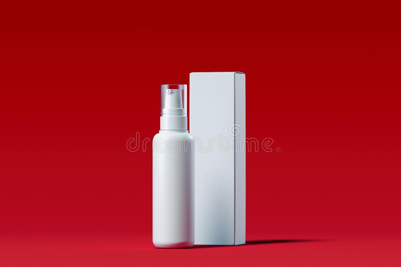 Cosmetic plastic spray for liquid. Beauty product package. 3d rendering. stock illustration
