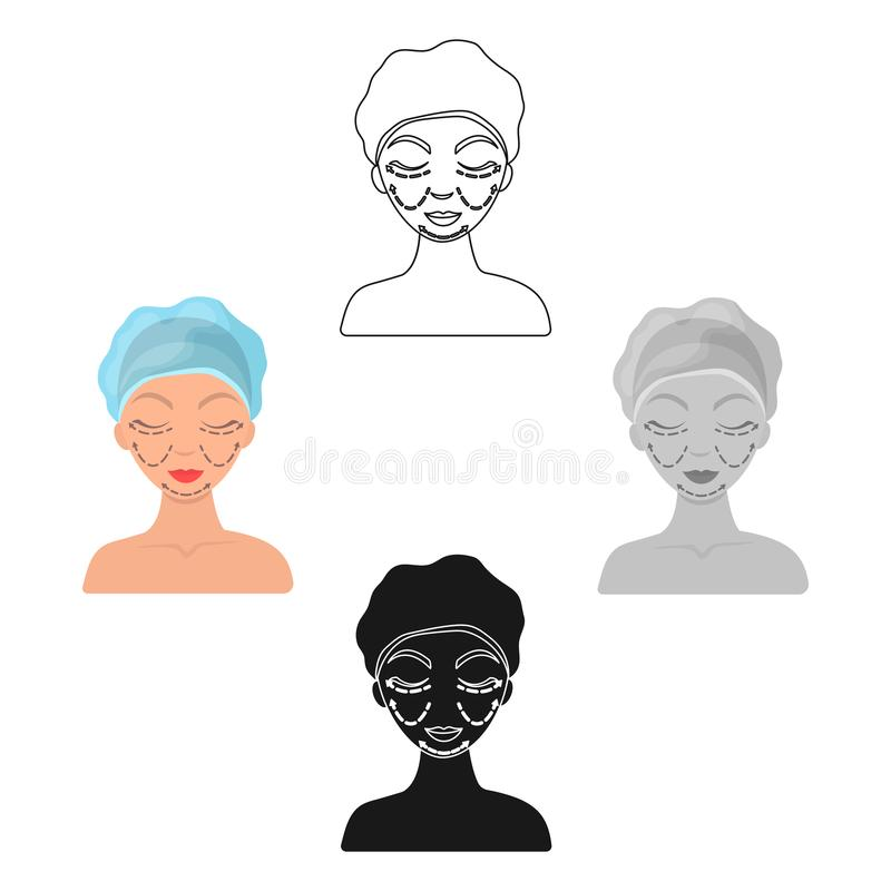 Cosmetic plastic surgery icon in cartoon,black style isolated on white background. Skin care symbol stock vector. Cosmetic plastic surgery icon in cartoon,black royalty free illustration