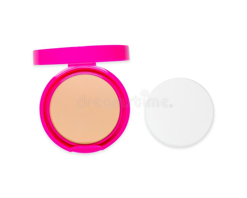Cosmetic Pressed Powder and Puff in Pink Case Isolated on white Background with Clipping Path. Face Powder with Mirror for Make Up stock photos