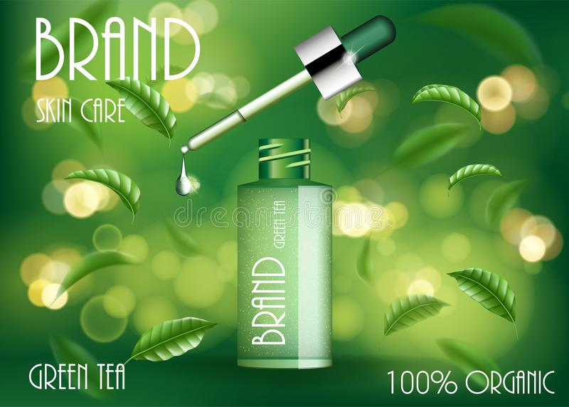 Cosmetic product ads template. Green tea skin care serum bottle with tea leaves and bokeh. 3d cosmetic product design vector illustration