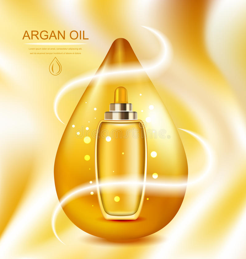 Cosmetic Product with Argan Oil, Wellness Complex. Illustration Cosmetic Product with Argan Oil, Wellness Complex, Advertising Poster with Orange Oil Drop royalty free illustration