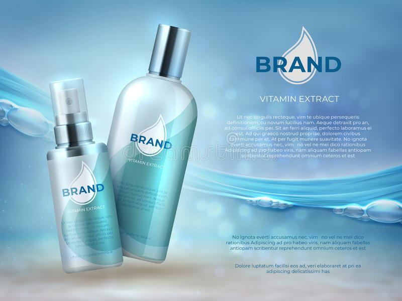 Cosmetic product background. Blue water beauty skin care fresh moisture cream bottle mask. Vector cosmetic promotion vector illustration