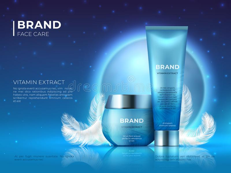 Cosmetic product background. Night skin care beauty brand cream realistic 3D lotion container. Vector cosmetic promotion stock illustration
