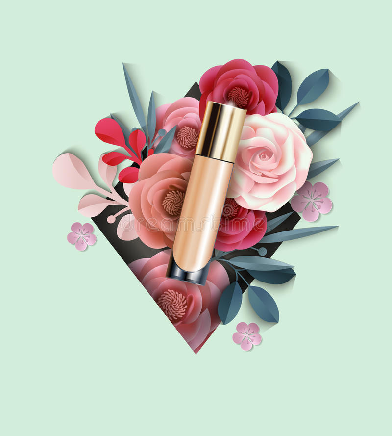 Cosmetic product, Foundation, concealer on the background of beautiful paper flowers. Beauty and cosmetics background vector illustration