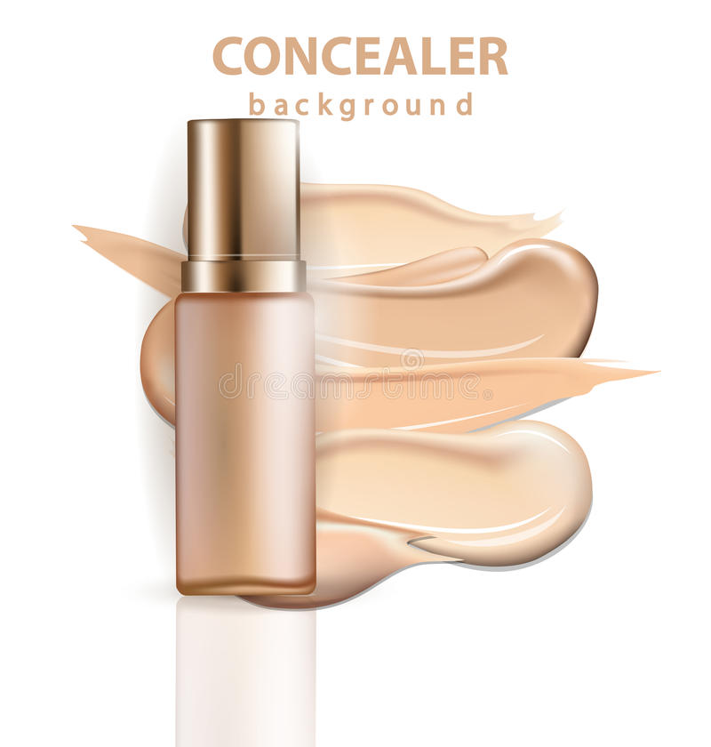 Cosmetic product, Foundation, concealer, cream with smear strokes. Template Vector. royalty free illustration