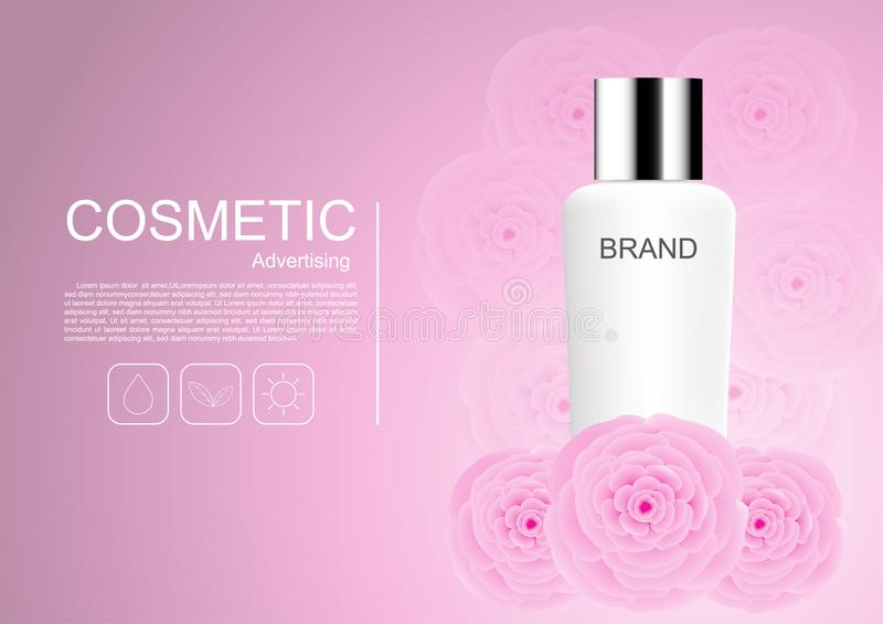 Cosmetic product milk cream with pink camellia on pink background vector cosmetic ads stock illustration
