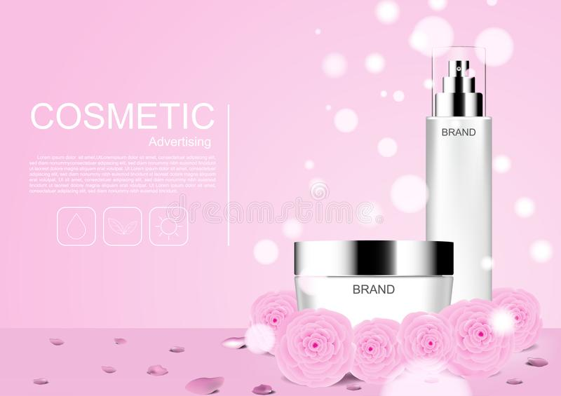 Cosmetic product with pink camellia and bubble light vector cosmetic ads vector illustration