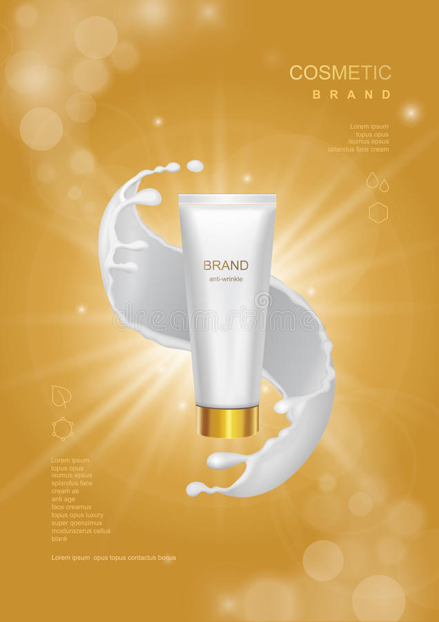 Cosmetic product poster, tube bottle package design with moisturizer cream or face milk on a gold sparkling background royalty free illustration