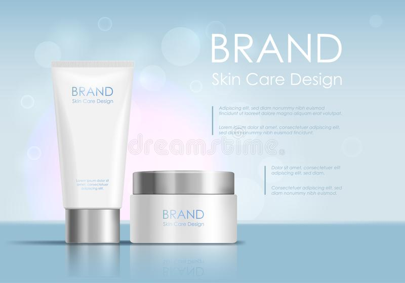 Cosmetic Product Tube Ad Concept Card Background. Vector vector illustration