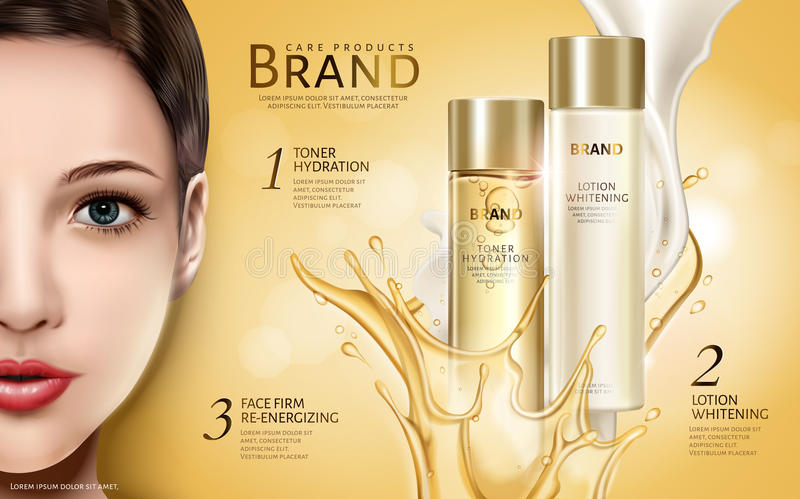 Cosmetic products ad stock illustration